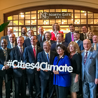 "A gathering of some of the ""Climate Mayors."""