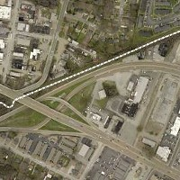 Planned route for the Greenline's western extension via a new bridge