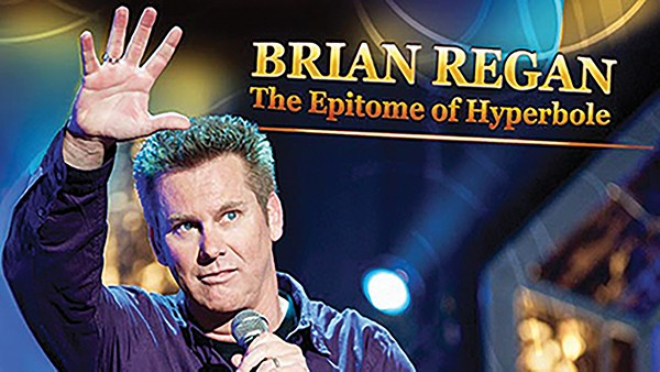 Comedian Brian Regan builds comedic themes.