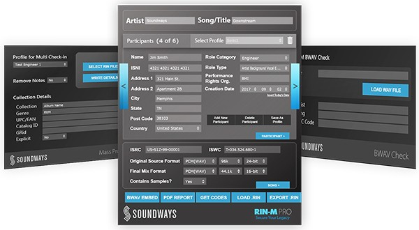Soundways RIN-M was developed to help music makers and music lovers keep track of song credits.