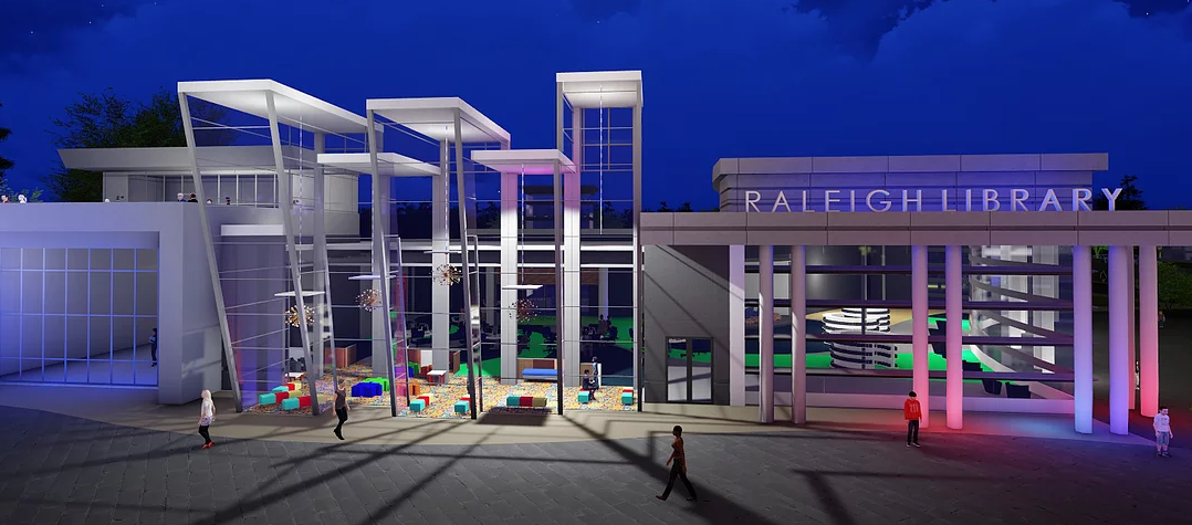 Rendering of state-of-the-art library - OT MARSHALL ARCHITECTS