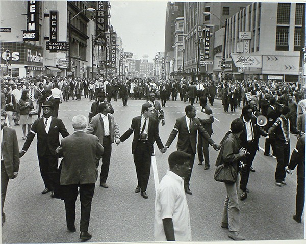 Ernest C. Withers, American, 1922 – 2007, Coretta Scott King and Mourners, Main Street, Memphis, April 8, 1968. - Gelatin silver print, Memphis Brooks Museum of Art purchase; funds provided by Sara and Kevin Adams, Deupree Family Foundation, Henry and Lynne Turley, Kaywin Feldman and Jim Lutz, and Marina Pacini and David McCarthy  2006.31.135 © Withers Family Trust