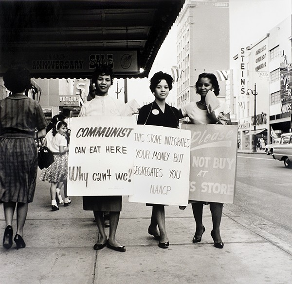 Ernest C. Withers, American, 1922 – 2007, NAACP Protest, Main Street, - Memphis, early 1960s. - Gelatin silver print, printed from original negative in 1999, Memphis Brooks Museum of Art purchase with funds provided by Ernest and Dorothy Withers, Panopticon Gallery, Inc., Waltham, MA, Landon and Carol Butler, The Deupree Family Foundation, and The Turley Foundation  2005.3.116 © Withers Family Trust