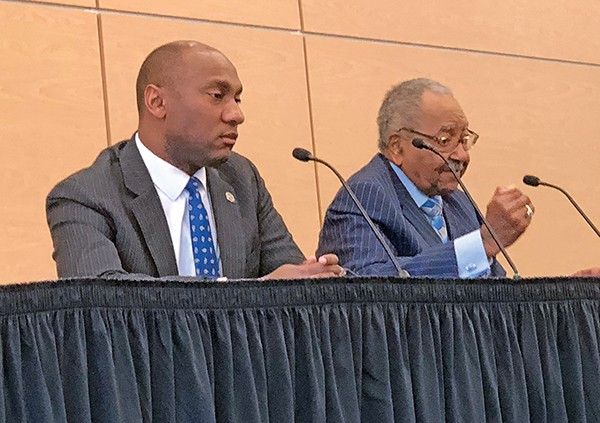 Democrat mayoral candidates - Lee Harris (left) and Sidney Chism at NAACP forum