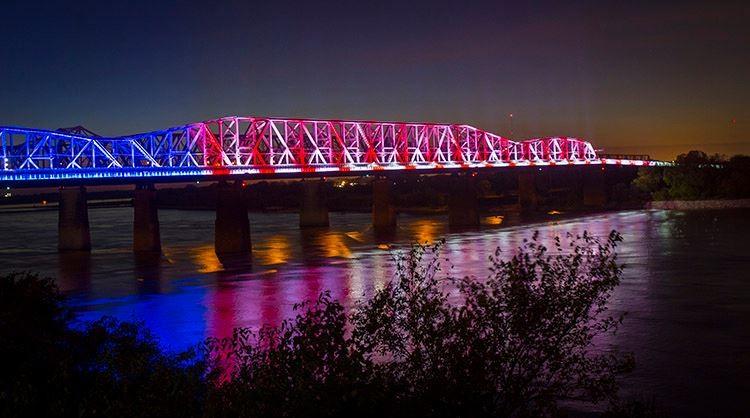 LED lights illuminate the Harrahan Bridge at Big River Crossing. - BIG RIVER CROSSING/FACEBOOK