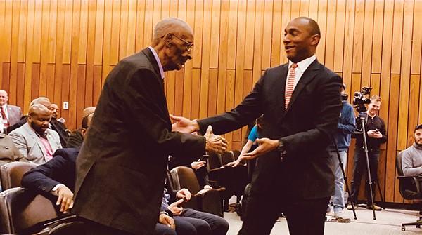 Mayor Lee Harris welcomes 101-year-old former Lemoyne-Owen - coach Jerry C. Johnson - JACKSON BAKER