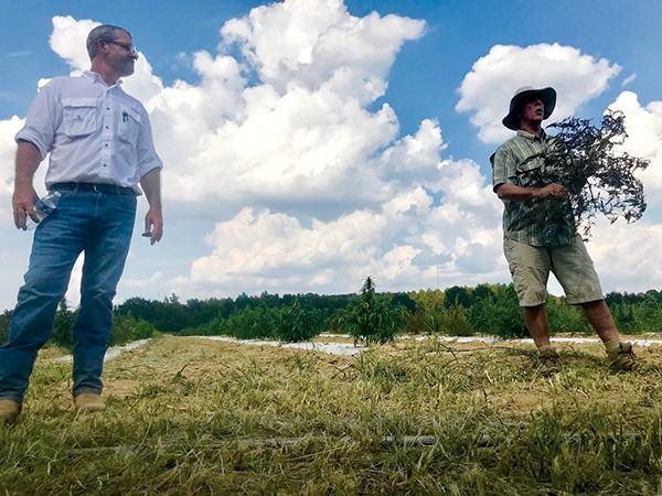 SBX Farms leaders - Steven Smith (left) and Boyd Vancil (right) discussed hemp production at Agricenter International last week. - TOBY SELLS