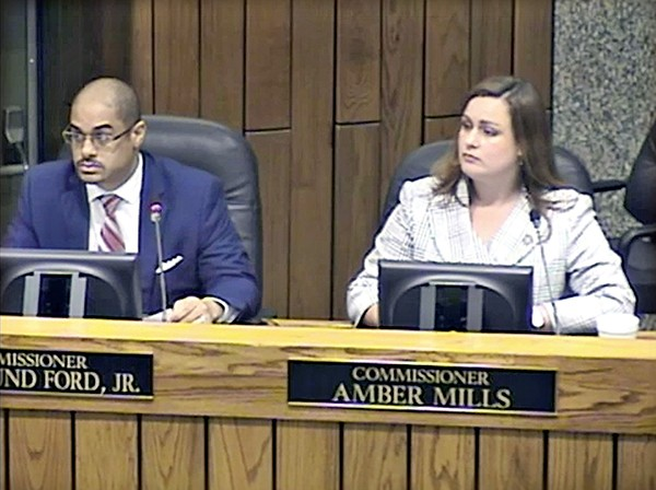 Democrat Edmund Ford Jr. (left) and Republican Amber Mills (right) co-sponsored County Commission resolutions providing $80,000 to the County Health Department for testing children for alleged exposure to lead in water sources at Shelby County Schools and adding to the Commission's legislative agenda an official notice of the issue to the General Assembly and Governor Bill Lee. The Commission approved both resolutions unanimously. - JACKSON BAKER
