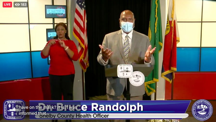 A masked Dr. Bruce Randolph, Shelby County Health Department officer, delivering remarks during Tuesday's briefing of the Memphis and Shelby County COVID-19 Joint Task Force. - CITY OF MEMPHIS/FACEBOOK