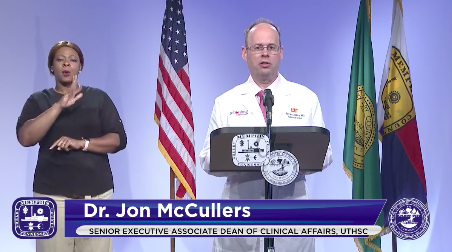 Dr. John McCullers, Pediatrician-in-Chief at Le Bonheur Children's Hospital, speaks during the Memphis and Shelby County Joint Task Force briefing on Thursday. - CITY OF MEMPHIS/FACEBOOK