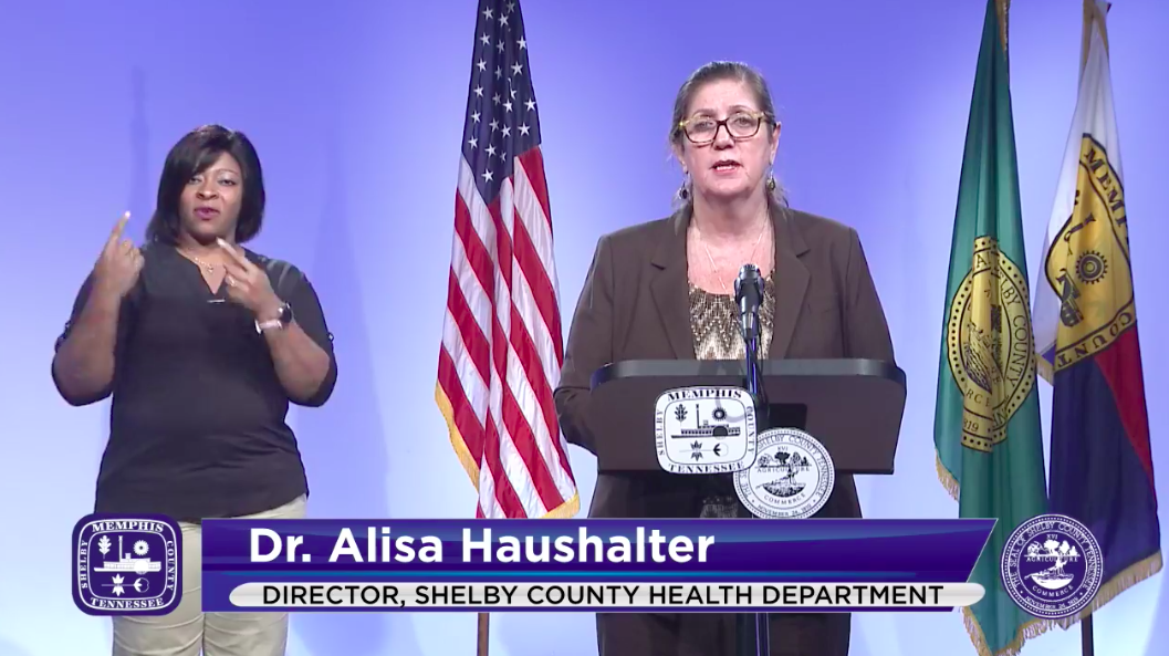 Shelby County Health Department director Dr. Alisa Haushalter during Tuesday's COVID-19 Task Force briefing. - CITY OF MEMPHIS/FACEBOOK