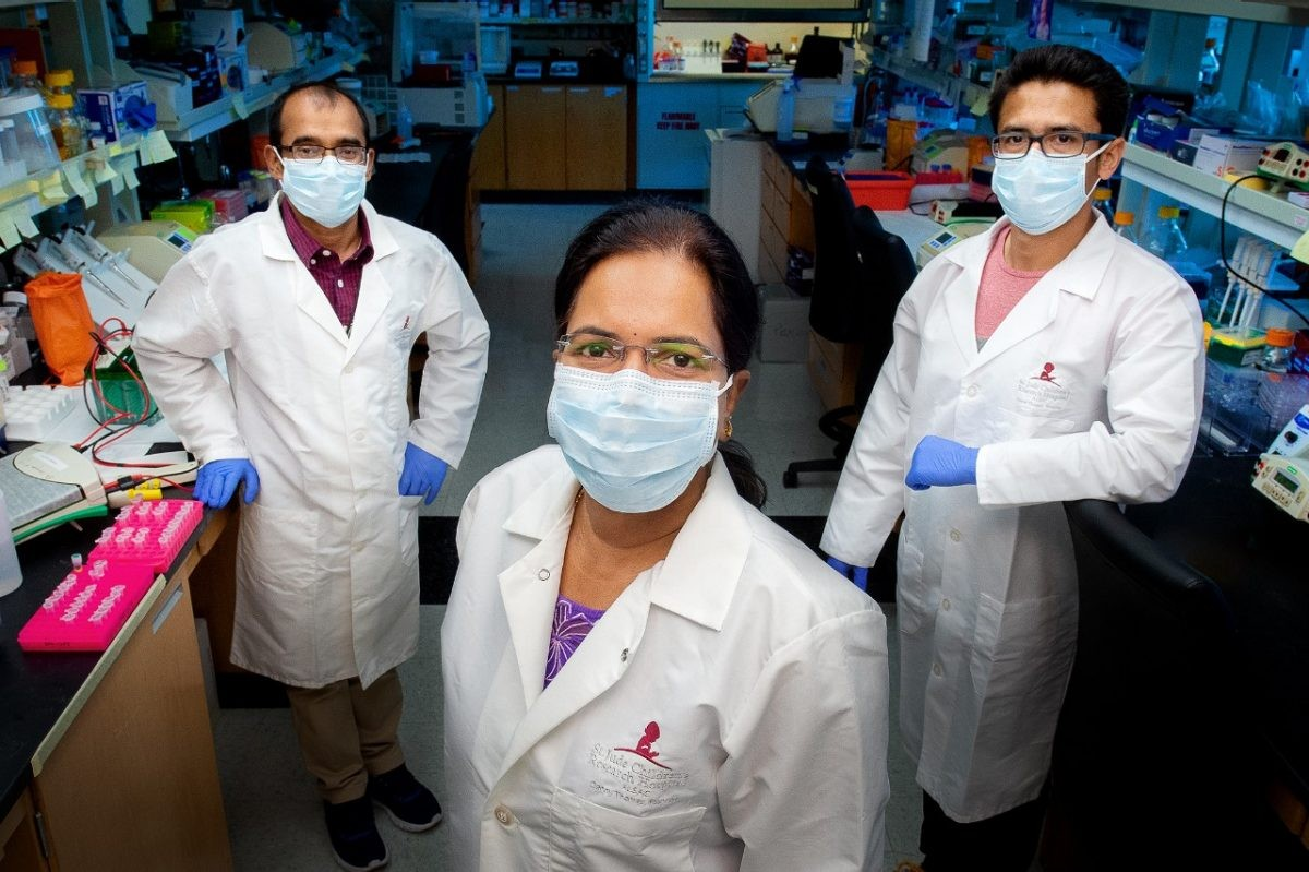 Thirumala-Devi Kanneganti vice chair of St. Jude Immunology, Bhesh Raj Sharma  and Rajendra Karki  in Kanneganti's lab.- ST. JUDE CHILDREN'S RESEARCH HOSPITAL