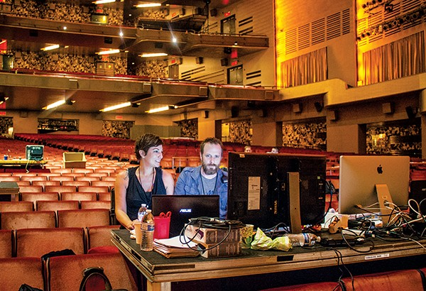 Sarah Rossi and K. Brandon Bell in the Beacon Theatre where they create virtual sets for the Tony Awards