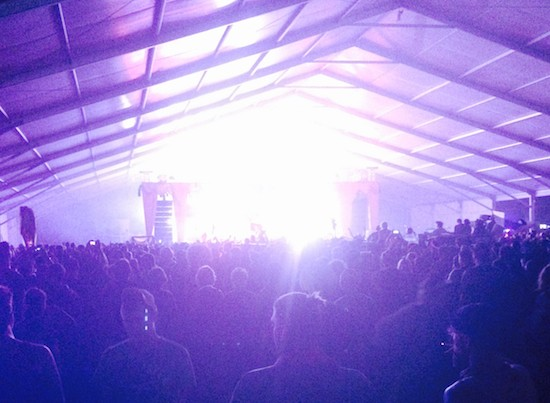 Slayer playing at Bonnaroo, demonstrating why iPhone stage photos are futile.