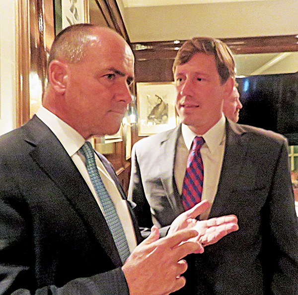 Former Chattanooga congressman Zach Wamp was in Memphis on Monday, convening a meeting at Owen Brennan's Restaurant of supporters of the presidential candidacy of Florida Senator Mario Rubio. Here, Wamp consults with Rubio's West Tennessee chairman, Germantown state Senator Brian Kelsey. - JACKSON BAKER