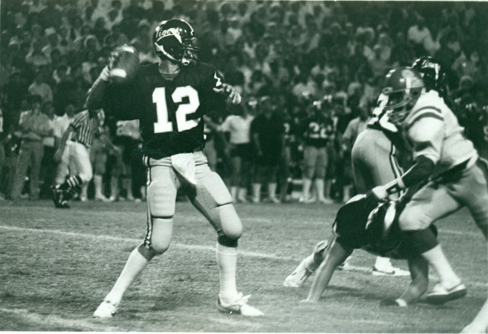 Danny Sparkman leads the Tiger attack against Ole Miss in 1983.