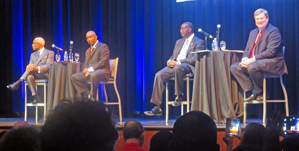 "When the four major mayoral candidates debated at the University of Memphis back in August, things were relartively tranqil (as in this tableau. Not so Tuesday night for the ""millenials"" debate. What is it they say: ""Youth must be served."" - JB"