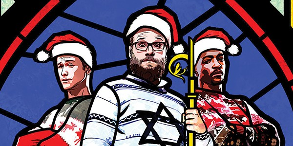 Joseph Gordon-Levitt, Seth Rogen, and Anthony Mackie in The Night Before