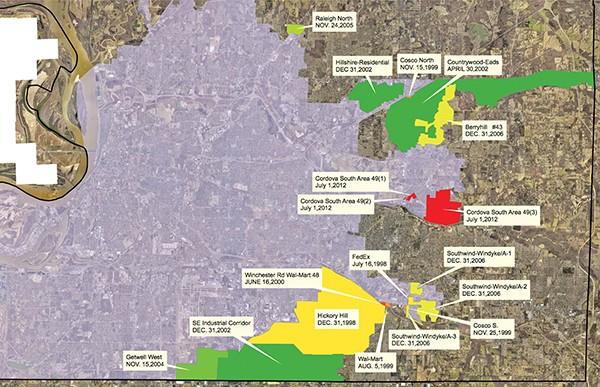 Areas Memphis has annexed since 1998