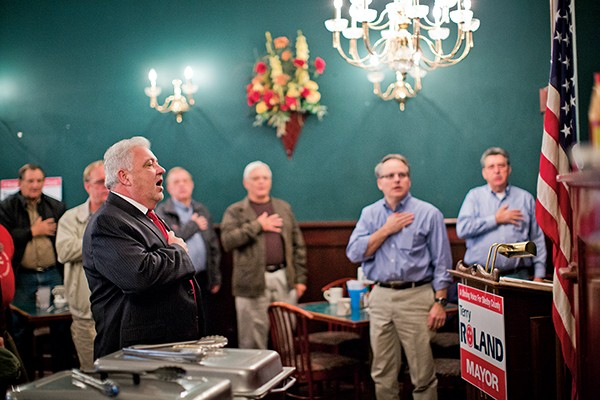 Terry Roland pulled a diverse crowd of public officials, old friends, active supporters, and curiosity seekers at Old Timers Restaurant, where he announced his candidacy for Shelby County mayor.