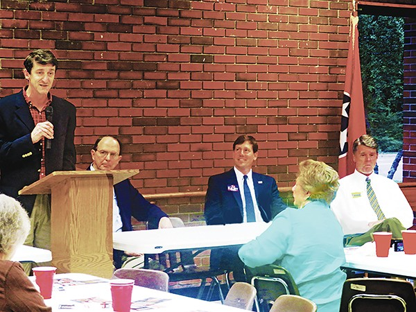 8th District contestants - (l to r) Brad Greer, George Flinn, Brian Kelsey, and Tom Leatherwood in Germantown - JACKSON BAKER