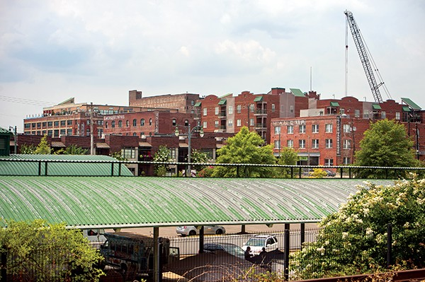 The Emerge Memphis building, visible below, is suggestive of the theme of this story: With creative solutions for old spaces, downtown is on the way back in.