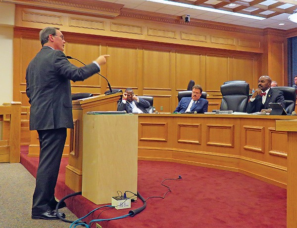 """Natural marriage"" advocate David Fowler fails to convince state - Rep. G.A. Hardaway and other Civil Justice subcommittee members that state law overrides a U.S. Supreme Court decision. - PHOTOGRAPHS BY JACKSON BAKER"