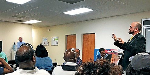 John Boatner (right), a Democrat new to local party ranks, was one of those attending the first of several reorganization forums for a revived Shelby County Democratic Party. The kickoff meeting was held on Saturday at the Raleigh office of state Representative Antonio Parkinson.