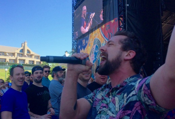 The Dead Soldiers' Michael Jasud sings in the crowd during BSMF '17.