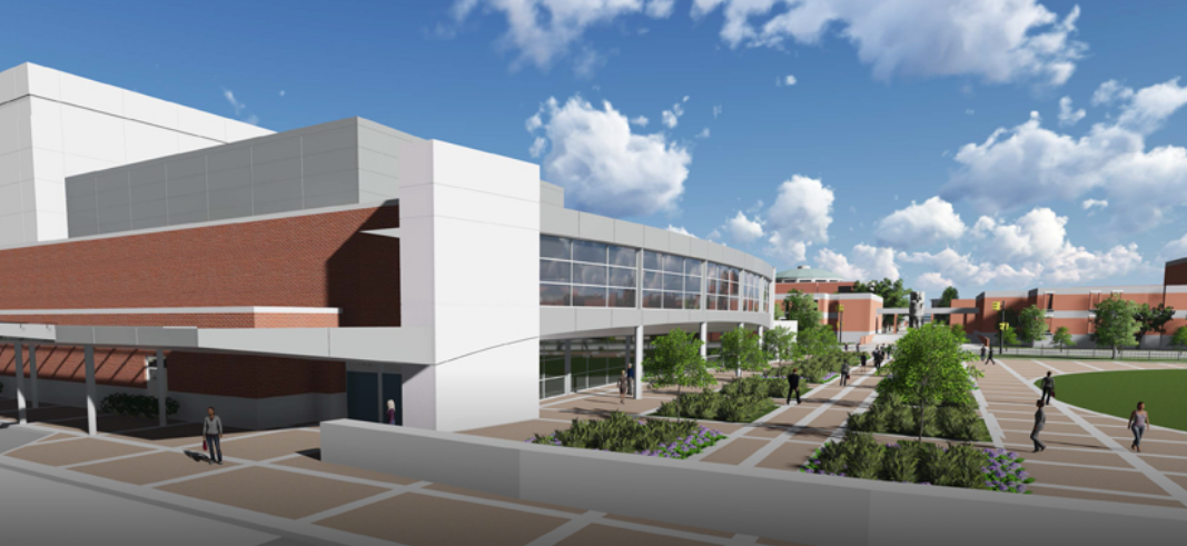 Rendering of the proposed Scheidt Family Music Center on the north side of Central - UNIVERSITY OF MEMPHIS