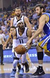 Mike Conley, shown here beating the Warriors with a broken face