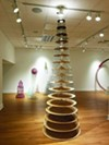 """Niles Wallace favors towers, as in <i>Pillar of Salt: Don't Look Back</i>, part of """"Niles Wallace: A Retrospective,"""" at the Fogelman Galleries."""