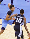 Kyle Anderson defends against the Spurs, Wednesday night.