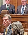 Paul Rose (R-Covington) was sworn in last week by Lieutenant Governor Randy McNally (top, right) as new state senator for District 32, which covers a part of Memphis.