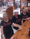 Mary Pat Van Epps. Lydia Cox, and Gina Dear at Gibson's Donuts.