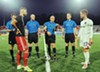 Stand-in 901 FC captain Cam Lindley, right, contests the coin toss against Loudon United captain Kyle Murphy