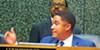 Commissioner Justin Ford at helter-skelter meeting.