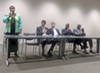 Council runoff candidates at Hooks forum were (l to r) Jamita Swearengen (District 4); Worth Morgan and Dan Springer (District 5); and Anthony Anderson and Berlin Boyd (District 7)