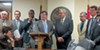 Fitzhugh (behind lectern) with House Democratic colleagues during Insure Tennessee press conference