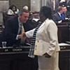 Sweet reason prevailed in at least one other matter, however, as is indicated by this handshake of reconciliation  between Rep. Glen Casada (R-Franklin), the GOP caucus chair, left, and Rep. Karen Camper (D-Memphis), after Casada decided to withdraw a crippling amendment, one with a stout fiscal note , from a bill by Camper. Her bill  would  create a task force to study the creation of a department of juvenile justice.   Casada's change of mind , which allowed easy passage of the final measure, occurred some two hours after he had added the amendment in a debate that had obvious partisan overtones.