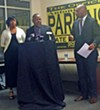 Love, Parkinson, and Harris at the press conference on TNReady's failure