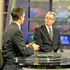 Artiles (l), Thomson on the WATN set