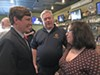 Getting an early start for the 2018 Shelby County Schools board race is Liz Rincon, candidate for Position 1. Here she speaks with two well-wishers — state Senator Brian Kelsey (l) and Fire Fighters Union official Joe Norman — at her Thursday night fundraiser at Sweet Grass.