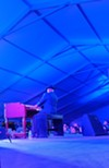 Booker T. Jones on the Hammond B3 organ in the Blues Tent.