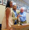 Clarissa Shaw (l) and David Cocke, co-chairs of the ad hoc committee that saw to the reorganization of the Shelby County Democratic Party, presented the revived party's gavel to newly elected party chair Corey Strong on Saturday.