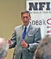 Kutoff answering questions at NFIB meeting