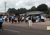 Protesters were arrested for blocking Poplar during a September fast-food strike in Memphis.