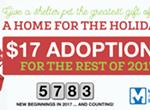 $17 Pet Adoptions Through 2017