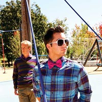 Fall Fashion in the Park 2012 When in doubt, go for stripes, plaid, and a bow tie.  Nate (background): Shirt, $45, Polo from James Davis; pants, $75, Kuhl from James Davis; sweater, $88, French Connection from Lansky 126.    On Ryan: Shirt, $108, Lansky 126; bow tie, $40, from Reginald Beam; sunglasses, $20, Lansky 126. Justin Fox Burks