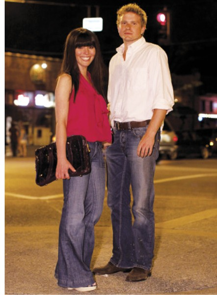 """When we caught up with this couple in Cooper-Young, we thought they looked - casual but cute. - Whitney Bearman was wearing a sleeveless Liquid top with a tie at the neck, retro heels, and high-waisted jeans because """"they're flattering on all body types."""" - Seth Regenold was wearing a white - button-down with Diesel jeans because he - """"was going out with a beautiful girl."""" - JUSTIN FOX BURKS"""